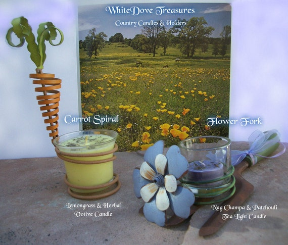 Country Garden Decor Candles - Farmhouse Rustic Metal - Lemongrass Herbal Votive or Patchouli Nag Champa Tea Light Essential Oils Gemstones