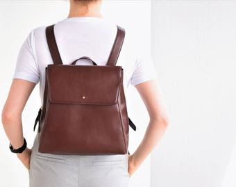 Mini backpack leather - Small leather backpack - Brown backpack women - Women backpack - Brown mini backpack - Women leather bag - Backpack