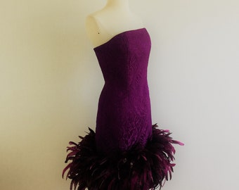 Vintage 70s strapless purple damask ostrich feathers cocktail dress -1970s Victor Costa dramatic wiggle party dress - M