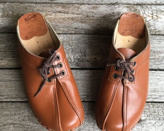 7 1/2 (Euro 38) | Women's Vintage Swedish Wooden Leather Clogs Lace Up Front