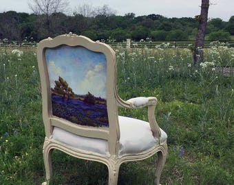 Restored Vintage Louis XIV Armchair with OOAK Bluebonnet Painting