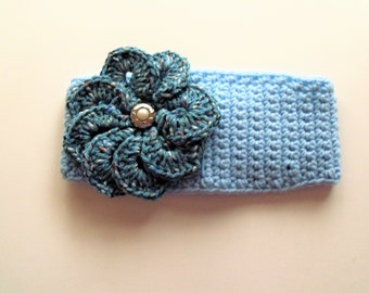 Adjustable Headband/Earwarmer with Flower - Light Blue with Light Country Blue Flower