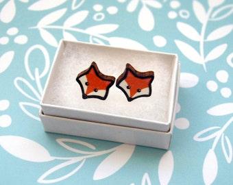 Wood Fox Face Earrings - Wooden Earrings / Cute Fox Studs / Orange Fox Jewellery / Wood Animal Earring / Wood Post Earring / Cartoon Fox