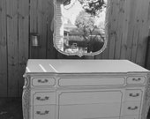 Vintage White Dresser and Mirror - Shabby Chic Painted Furniture