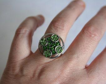 Green Rhinestone Ring Peridot Irish Bling - made with a green rhinestone button
