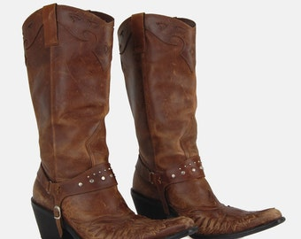 MIA Leather Studded Harness Cowgirl Boots Vtg 80's Cognac Brown Heeled Distressed Riding Pointed Rocker Country Western - 8.5 US/38.5 EU