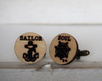 Sailor Soul Cufflinks Anchor and Ship Wheel Cuff Links Tattoo Style Cufflinks Laser Cut Nautical Wedding favors