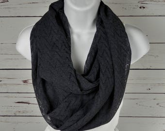 Chevron Lace Infinity Scarf,  Dark Grey Open Lace Knit in Chevron Design,  Double Loop Scarf by Thimbledoodle