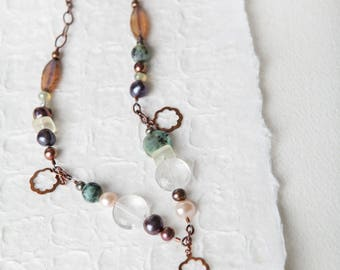 Copper Flower Necklace, Copper, Flower Necklace, Bohemian, Boho Necklace, Citrine, Turquoise, Pearl, One of A Kind, Tuesday Collection