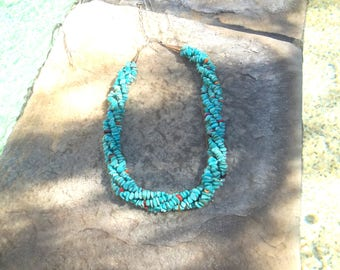 Turquoise Beaded Sterling Silver Necklace