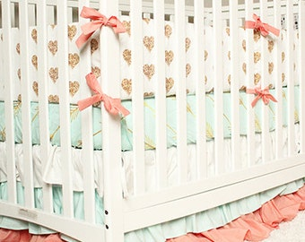 Baby Girl Bedding, Gold Heart Crib Bedding - Coral, Mint and Gold