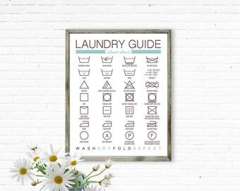 Laundry Room Print, Laundry Guide Cheat Sheet, printable laundry Art, Laundry Room Art, Best Selling Items, Wall Art Prints, Digital Prints