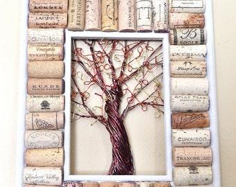 Wire Fall Tree Wine Cork board Message Board or Jewelry or Photo Holder