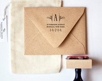 Embellished Monogram Return Address Stamp