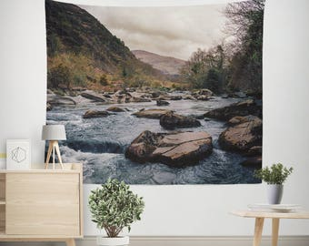 Nature Wall Tapestry, Forest River Decor, Foggy Spring, Stream Wall Hanging, Wales Tapestry, Wales Wall Hanging, Riverbed Tapestry