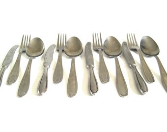 Eastern European Flatware Set Stainless Silverware Inox Rustic Romanian Basic Service for 4 (lg spoons, forks, knives) Food Photography Prop