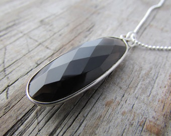 Smoky Quartz Necklace, big faceted quartz pendant, silver bezel