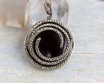 Marcasite Spirals Necklace - Jet Black Glass and Sterling Silver - Round Pendant on Chain