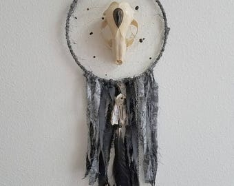 Hiraeth - large grey dream catcher with real skull & crow feather - ooak
