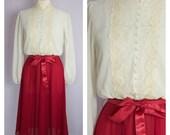 Vintage 1970's Victorian Lace Collar Midi Dress M