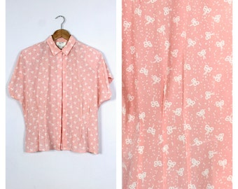 Vintage 1980's Pink + White Bow Print Short Sleeve Blouse L/XL