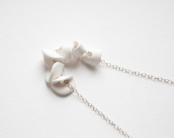 Hand Sculpted Polymer Clay Petals Necklace - Winter White