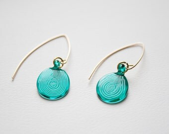 Pressed Hand Made Flameworked Lampworked Glass Earrings on Gold Plated Ear Hooks