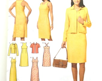 Simplicity 4991 cutaway dress and jacket pattern, women's separates, sizes 6-8-10-12, career wear, workwear, sleeveless fitted dress, UNCUT