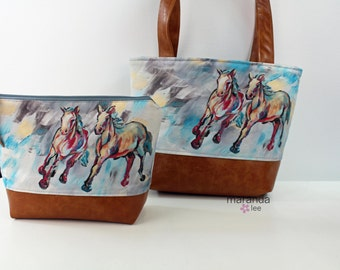 On Your Mark  -  Tote or Clutch  Original Artwork Collaboration with KPotter Fine Art - LIMITED EDITION