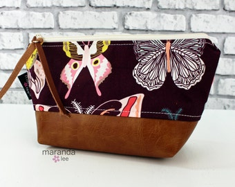 AVA Small Clutch - Butterfly with PU Leather  READY to SHIp Cosmetic Toiletries bag Travel Make Up Zipper Pouch