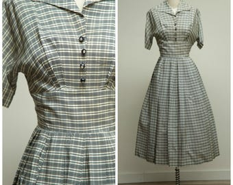 Vintage 1950s Dress • Shopping Spree • Black Cream Plaid Taffeta 50s New Look Era Day Dress Size Small
