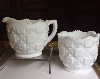 Vintage Westmoreland White Milk Glass Old Quilt Open Cream and Sugar Set