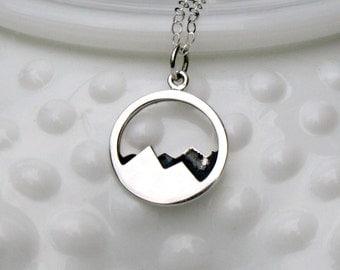 Silver Mountain Necklace - Mountain Range Necklace - Mountain Range Pendant - Mountain Jewelry -Mountain Climbing - Hiking Necklace