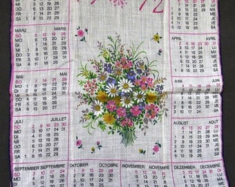 Vintage 1972 Calendar Handkerchief - French German Calendar Hankie Hanky - Floral Bouquet - Collectible - Arts Crafts