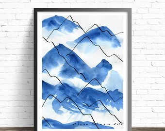 Blue Mountain Abstract Painting Print. Watercolor mountains. Abstract watercolor print. Mountain Print. Nature art prints. Modern wall art