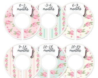 Closet Dividers, Baby Closet Dividers, Toddler, Days of Week, Closet Organizer, Pink, Mint, Flowers, Baby Shower Gift, Floral Nursery Decor