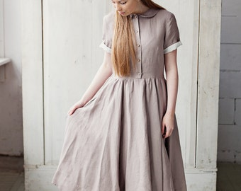 Grey Dress, Linen Dress, Short Sleeve Dress, Pleated Dress, High Waist Dress, Loose Dress, Long Dress, Buttoned Dress, Flared Dress