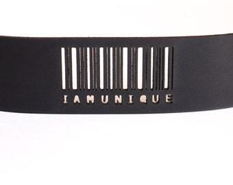 black leather cuff bracelet - Slim Barcode Cuff in Black Leather with Snaps: IAMUNIQUE - modern design, laser cut