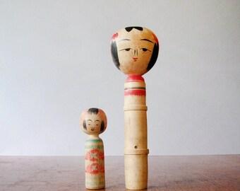 Vintage Creative Kokeshi Doll Pair Tall / Short Japanese Turned Wood
