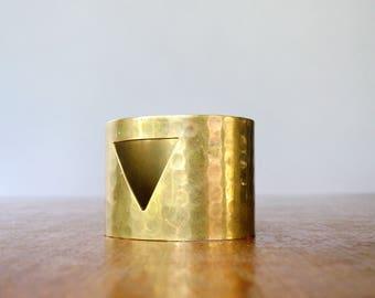 Vintage Brass Cuff Bracelet - Textured Triangle