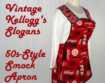 Retro 50s Smock Apron - Vintage Kellogg's Slogans, comfortable all day apron, READY TO SHIP