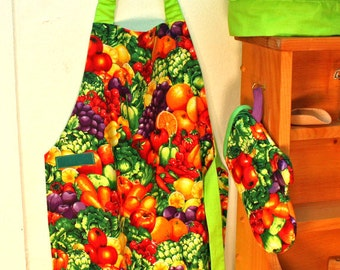 Childs Apron, Fruit and Veggies Childs Apron