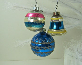 Vintage MERCURY Glass ORNAMENTS Set/3 Blue MICA Bell Christmas Tree