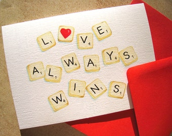 Scrabble I Love You Card - Romantic Card - Love Card for Scrabble Player, Word Lover - Anniversary Card