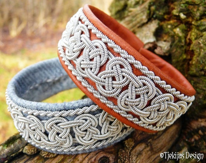 Norse Viking Bracelet BEOWULF Swedish Sami Cuff in Cognac Brown Reindeer Leather with Spun Pewter Braids - Nordic Natural Elegance