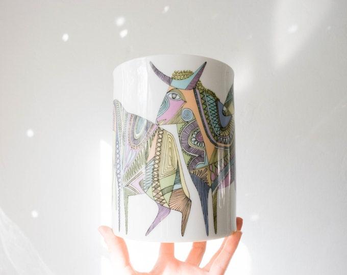 Mid Century Glazed White Porcelain Bull Vase // Cuno Fischer // Rosenthal // Bohemian Home Decor