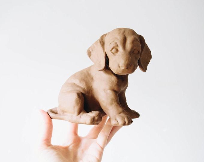 Mid Century Modern Matte Ceramic Dog // Max Heinz // Karlsruher Majolika // 1950s Home Decor