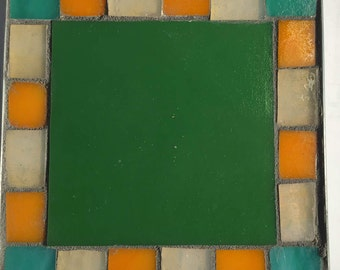Green, Orange and Pale Amber Table Mosaic Trivet