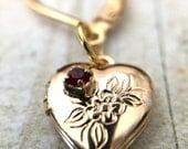 Heart Locket Earrings - Red Rhinestones, Heart Jewelry, Ruby Hearts, Gold Earrings, Garnet Jewelry, Birthstone Jewels, Sweetheart Jewelry