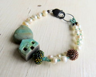 On a Clear Day - handmade freshwater pearl and artisan bead bracelet in turquoise and white with turquoise cottage detail - Songbead, UK